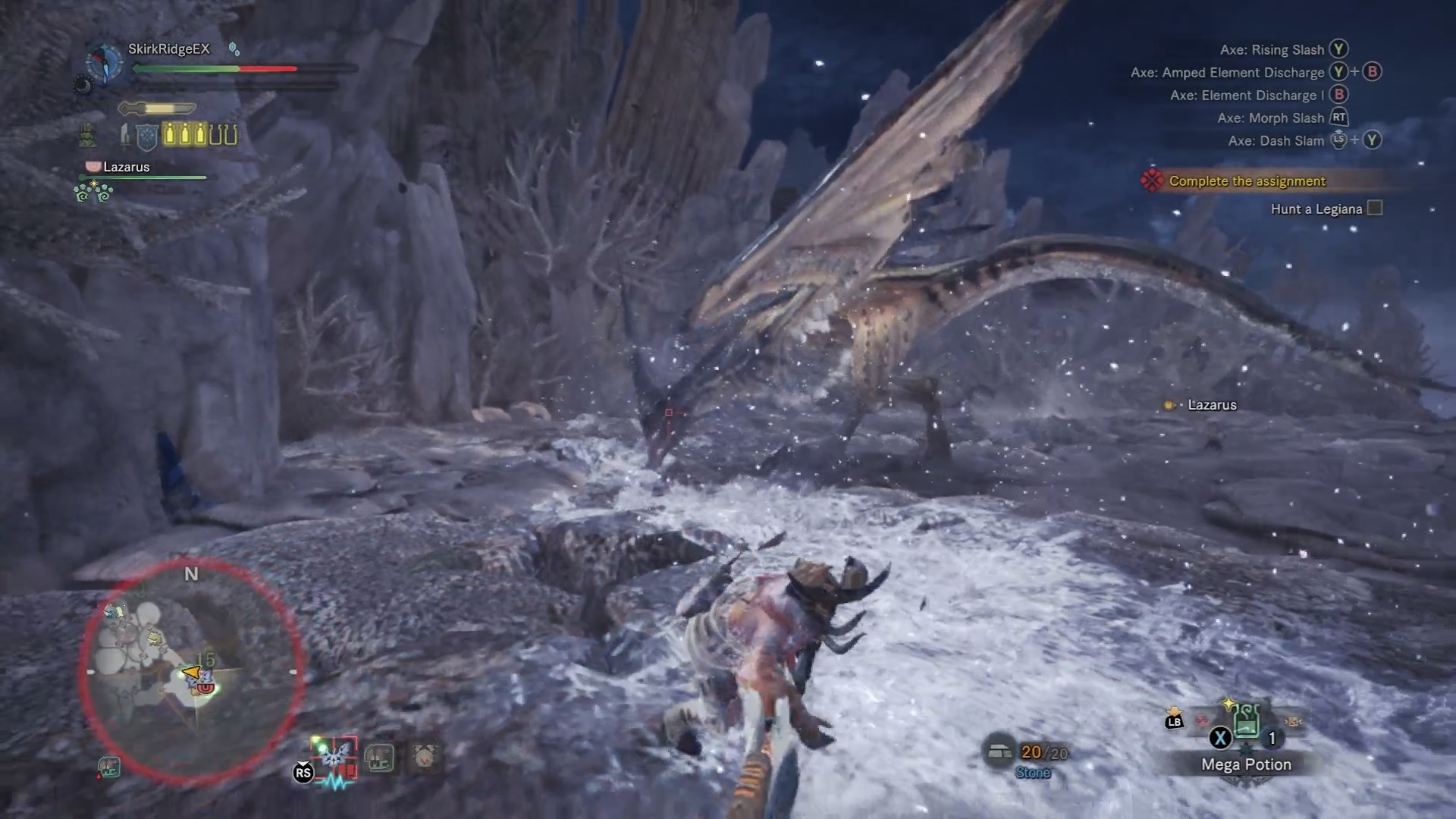 Legiana has frozen part of the area and player is affected by Iceblight.