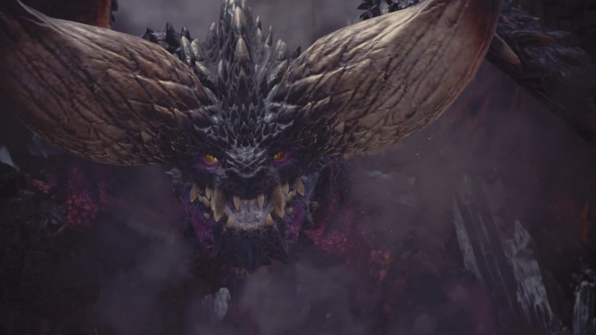 Nergigante's face, bearing its teeth.