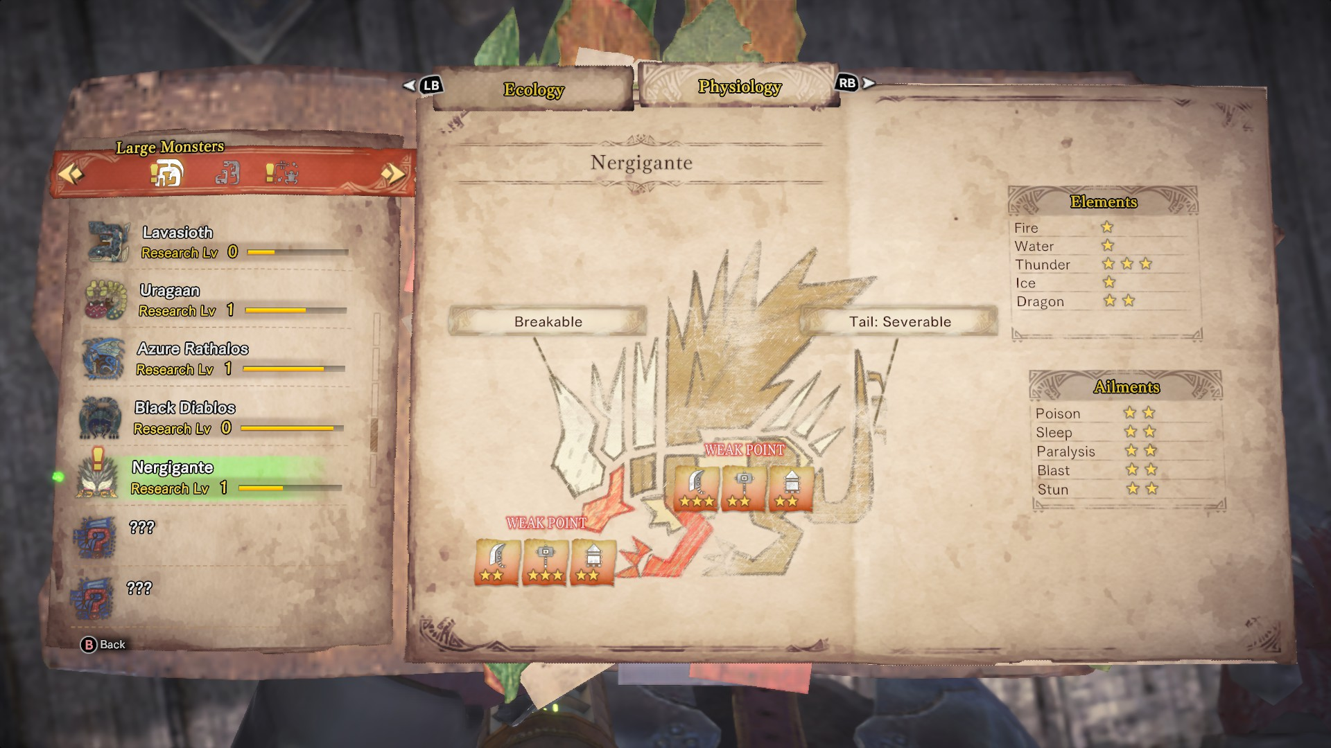 Nergigante's entry in the monster field guide.