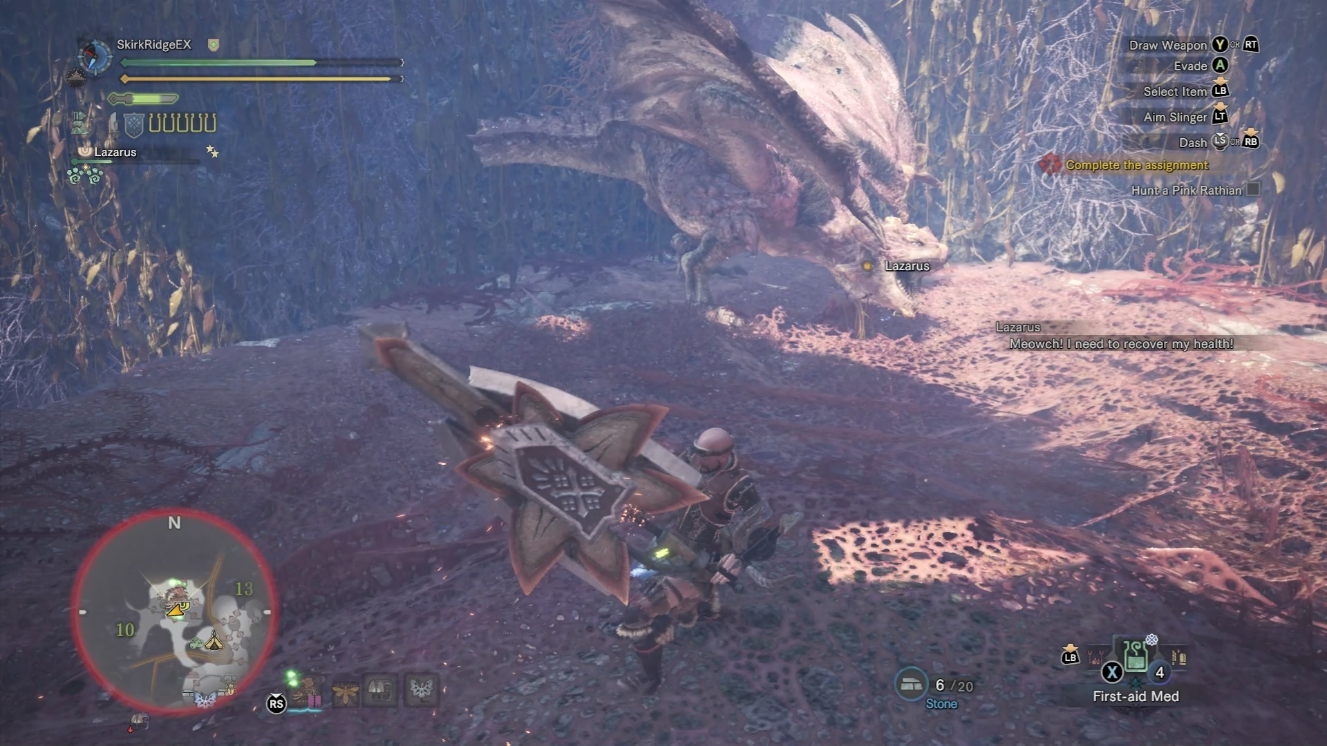 Pink Rathian near its nest with its tail chopped off and scales semi-removed.