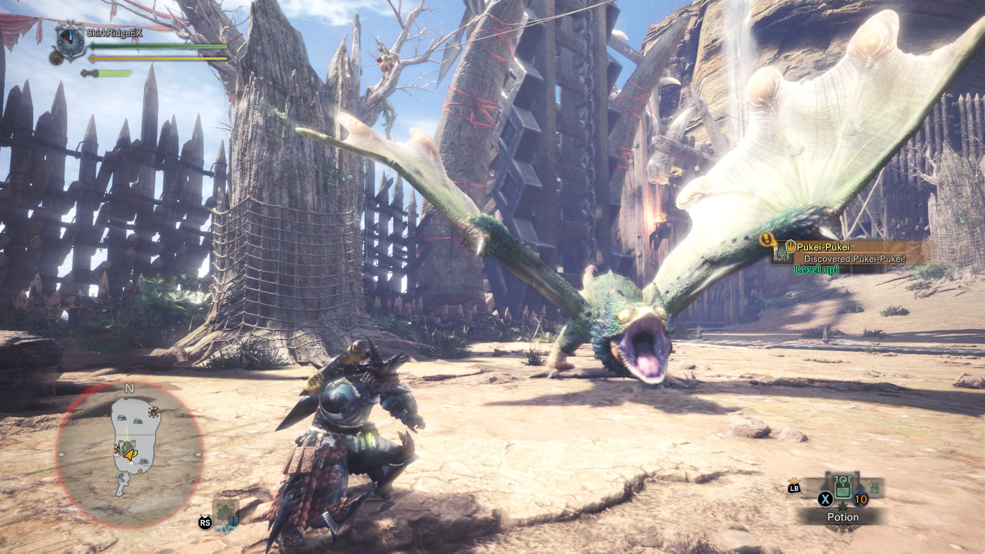 A Pukei-Pukei screaming at the player in the arena.