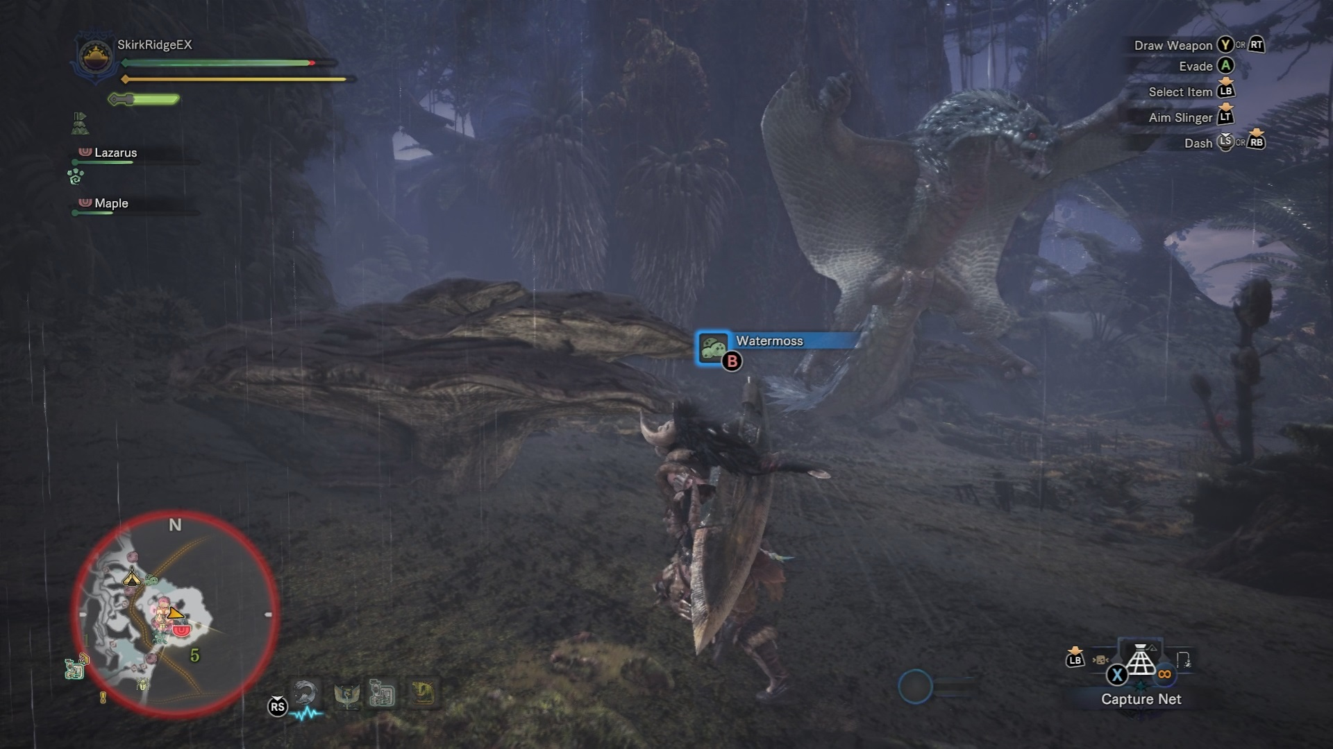 Tobi-Kadachi glides to strike the hunter.