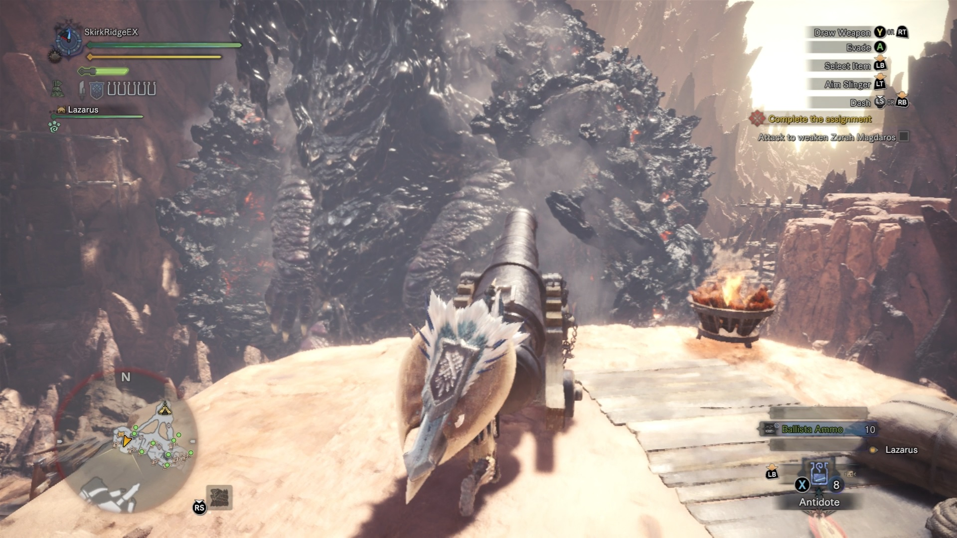 Player is firing the cannon on Zorah Magdaros