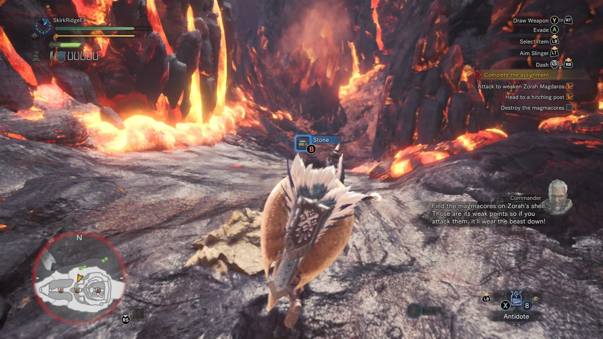Player is looking at one of Zorah Magdaros' cores