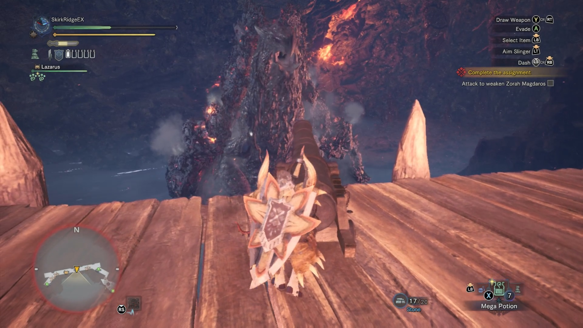Hunter is lining up the cannon to shoot at Zorah Magdaros