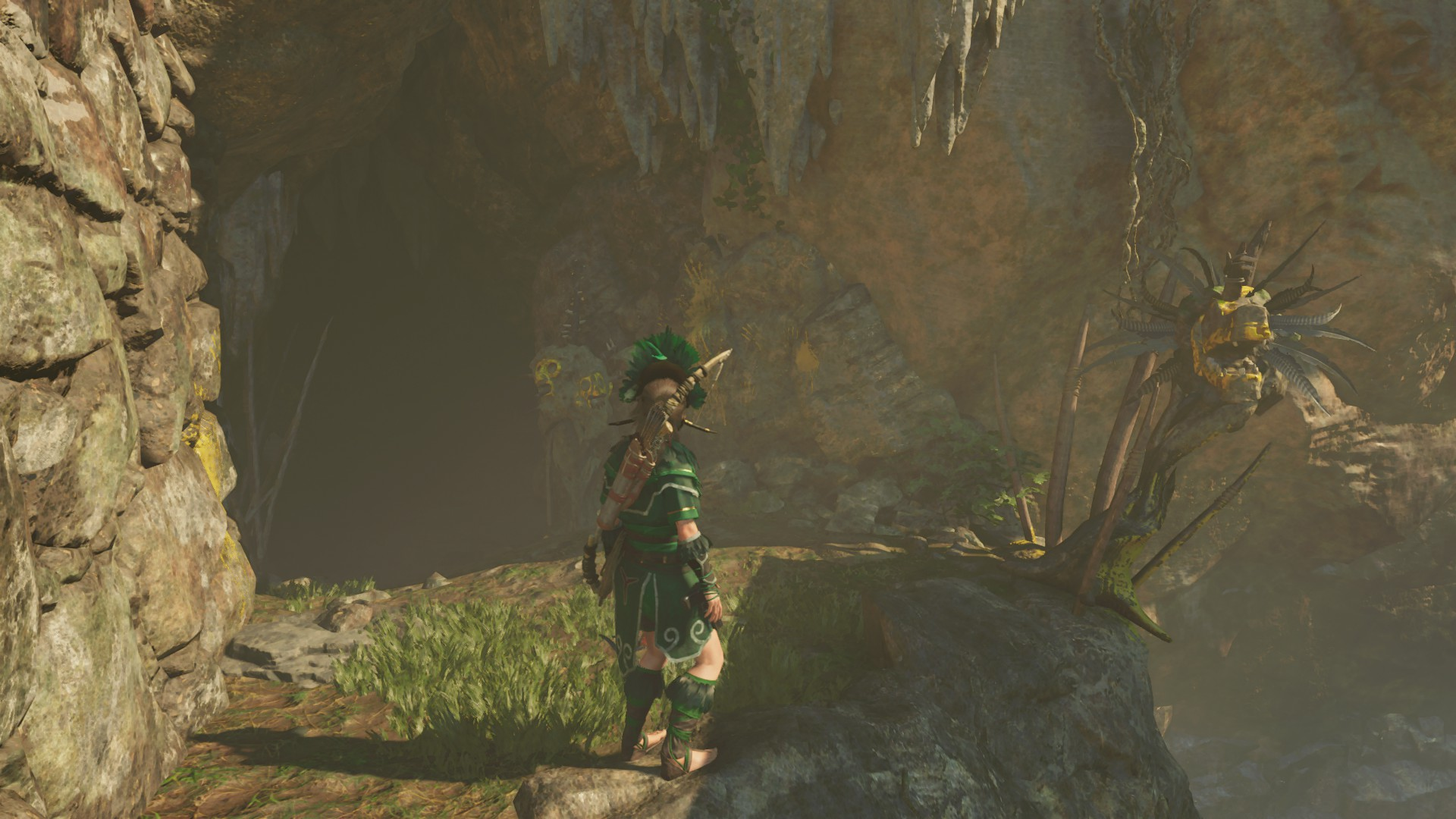 Lara outside Ancient Aqueduct challenge tomb. It's just off the cliff to the side of Temple of Kukulkhan base camp.