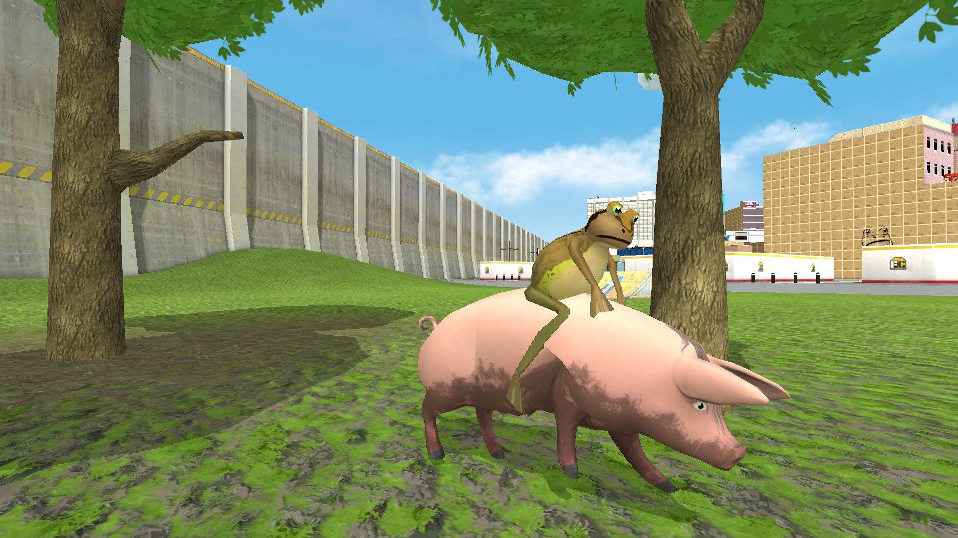 Just a frog riding a pig