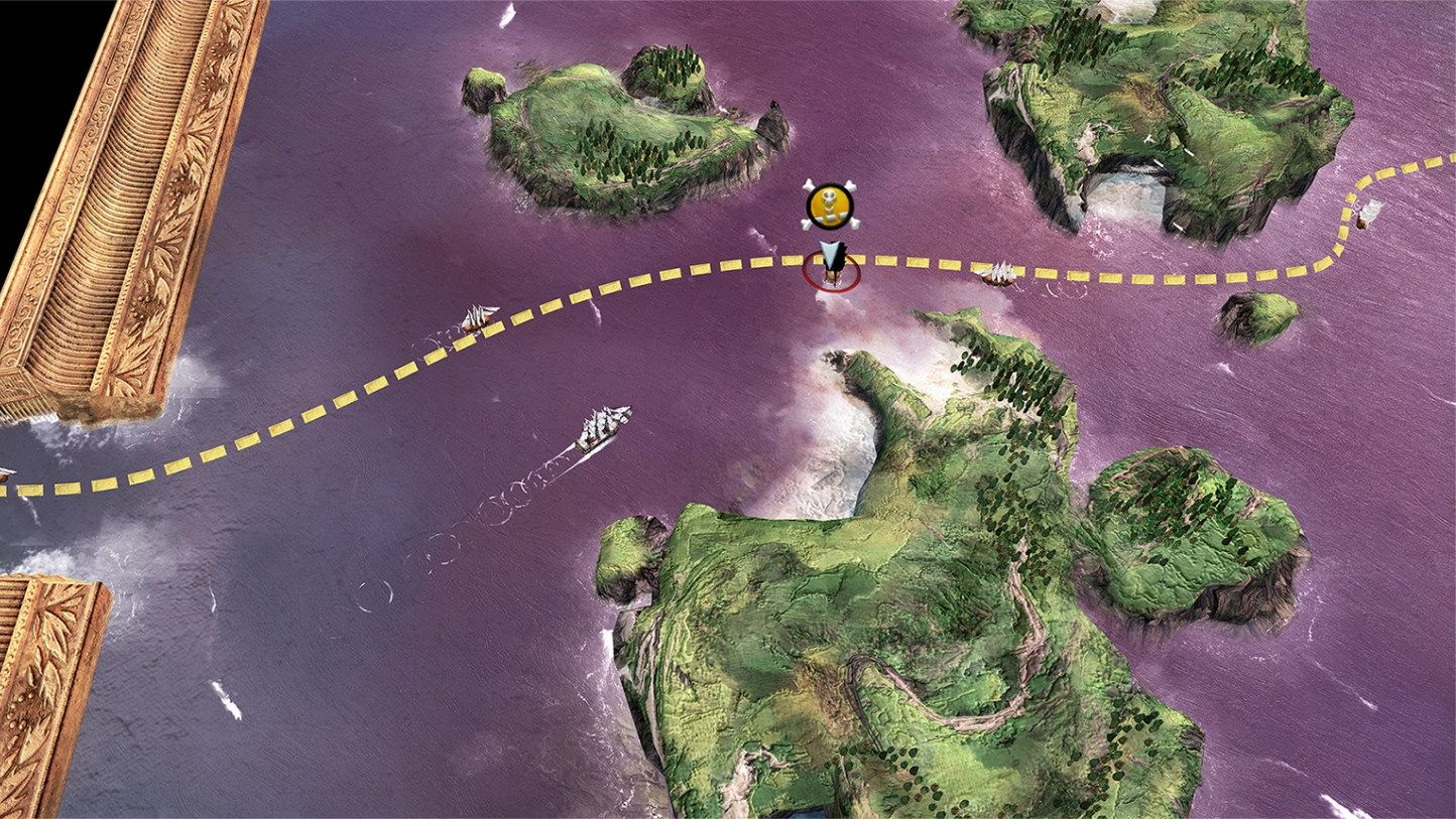 A trade route is mapped by a dotted line. Plunder or protect.