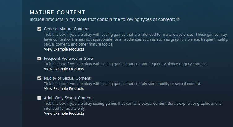Steam's new default settings page. If you want the spicy stuff, you've got to ask for it.
