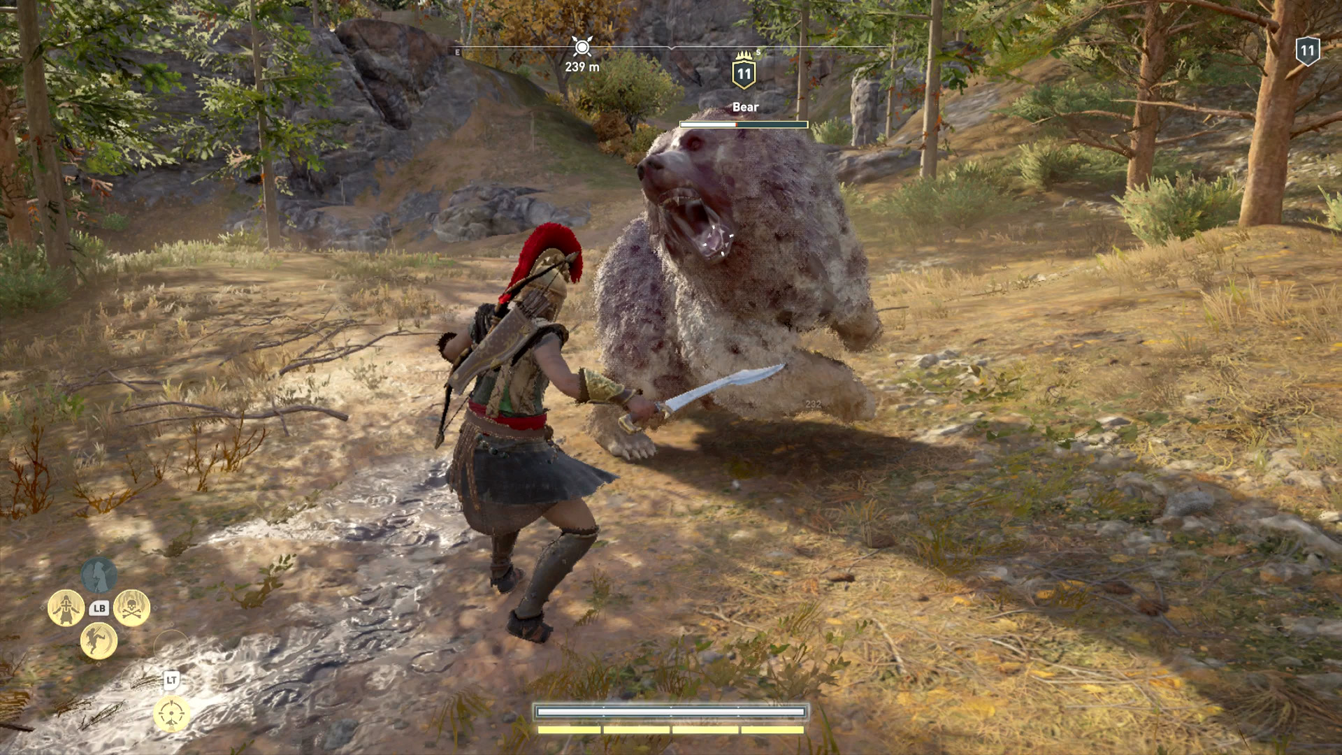 Kassandra is fighting an albino bear.