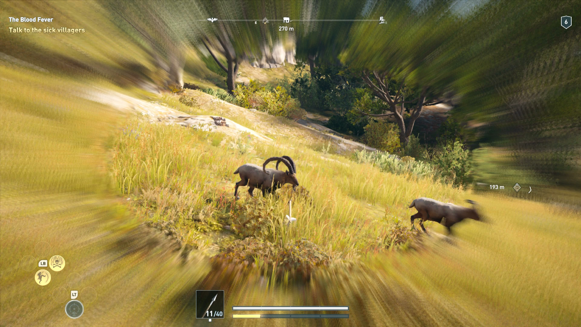 Kassandra is using Predator Shot to make the arrow move in mid-flight, targeting the male Ibex.