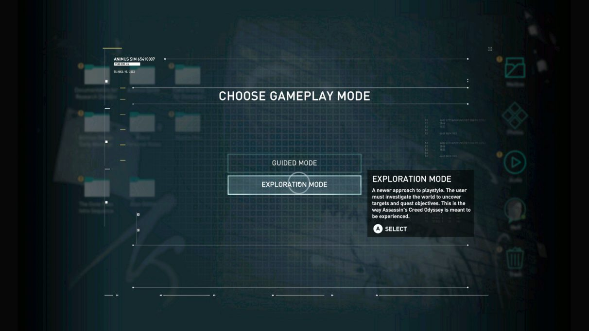 Choice between Guided or Exploration modes in Assassin's Creed Odyssey