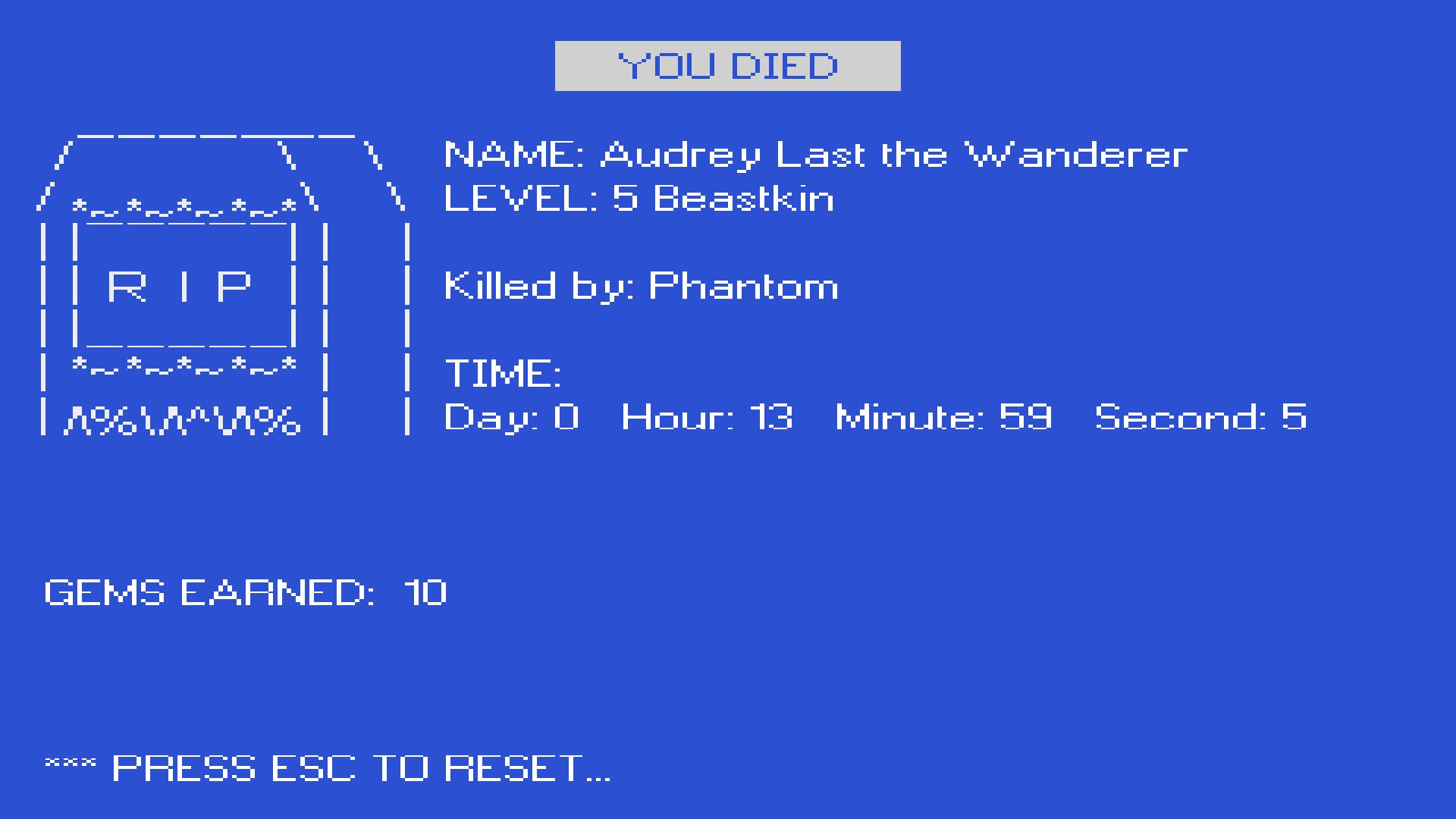 Kingsway's game over screen in the style of the blue screen of death.