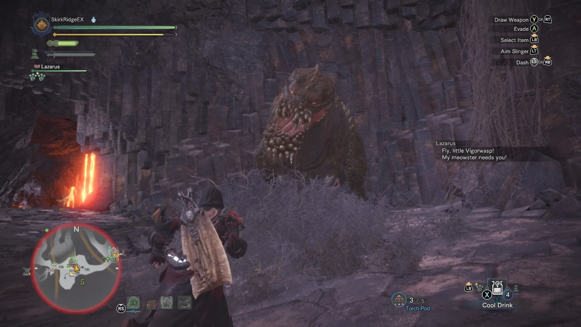 A tired Deviljho looking at the hunter.