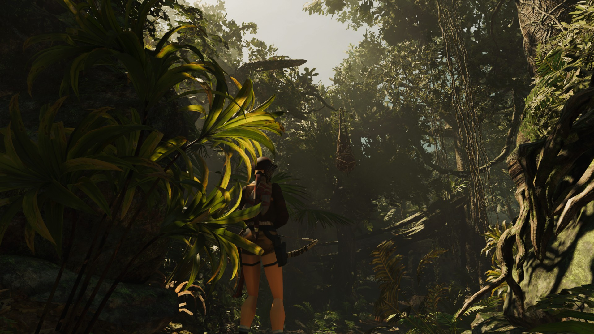 Lara about to shoot down a nest for a challenge.