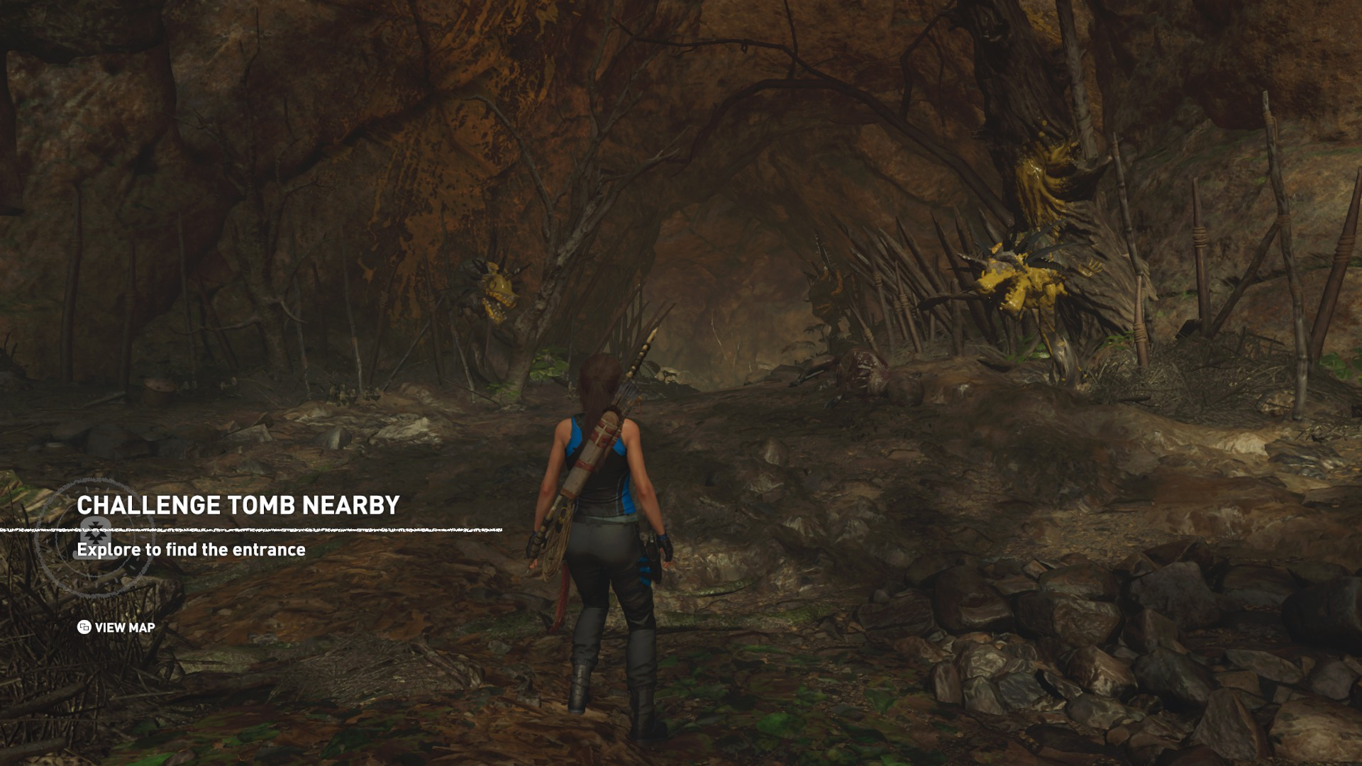 Lara outside Howling Caves challenge tomb.
