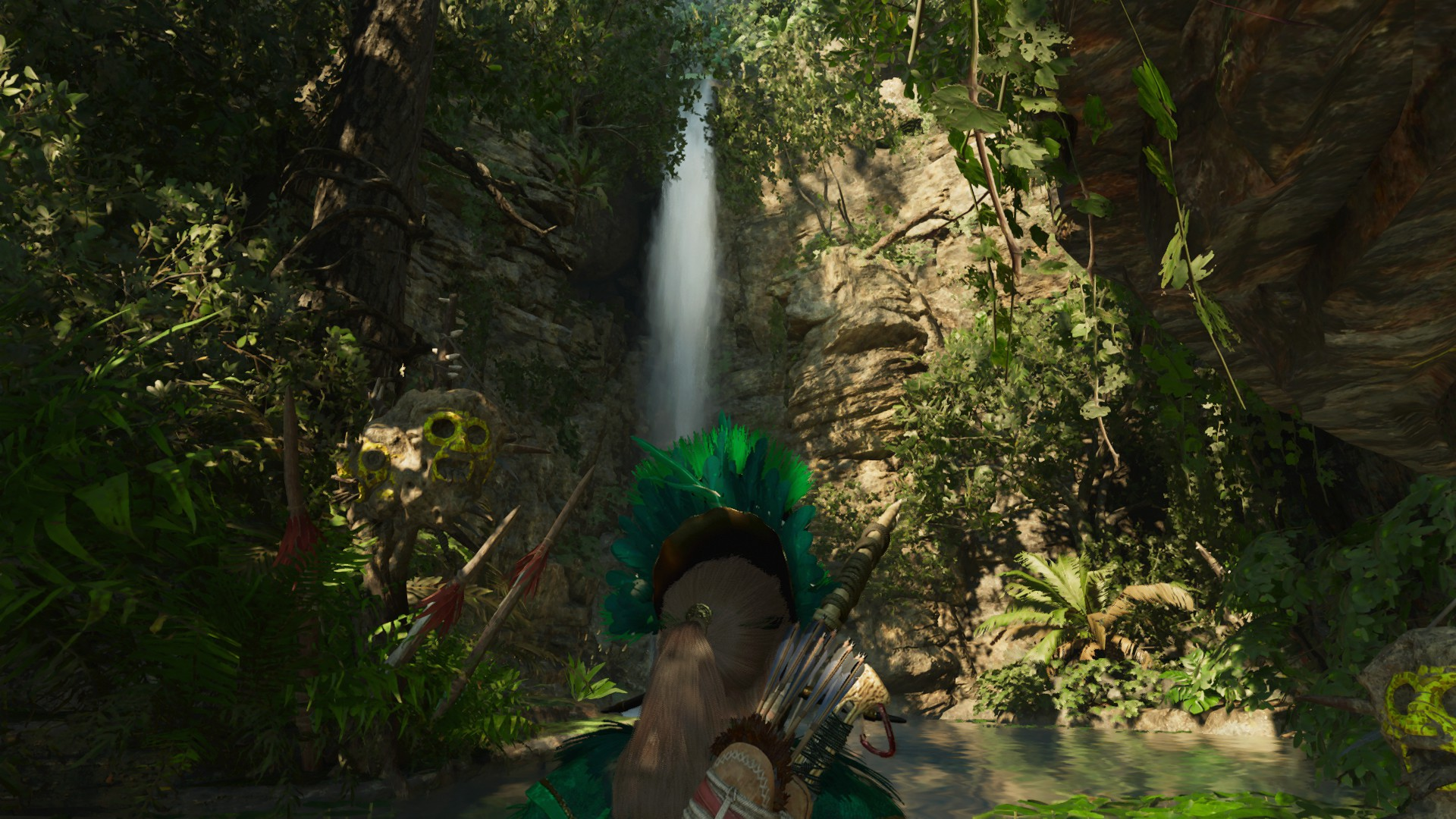 Lara at the bottom of the waterfall. Climbing the waterfall takes you to the Path of Battle challenge tomb.