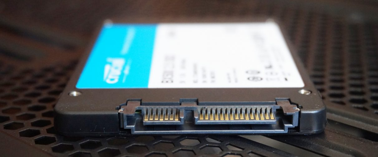 Close-up of a 2.5in SATA SSD