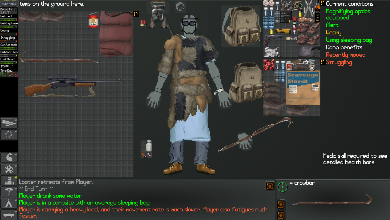 A screenshot of your character's inventory system in NEO Scavenger.