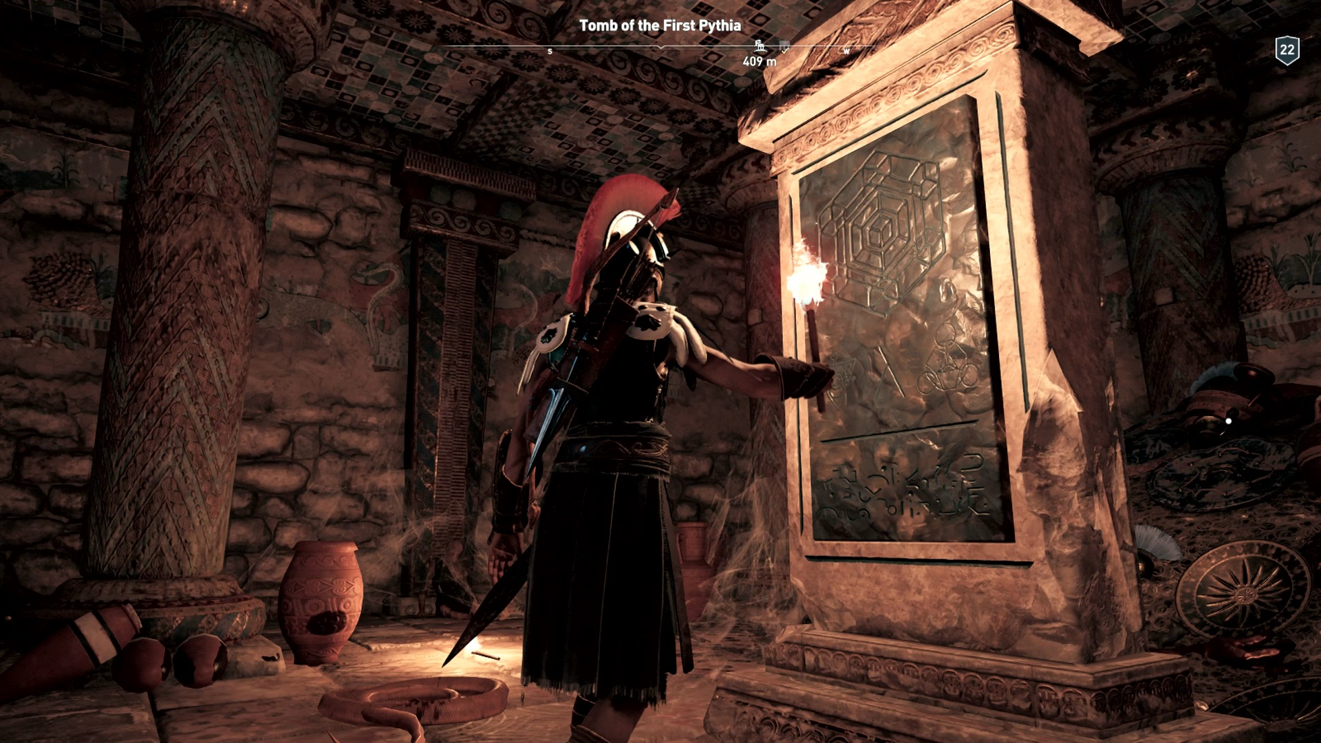 Kassandra finds an Ancient Stele monolith.