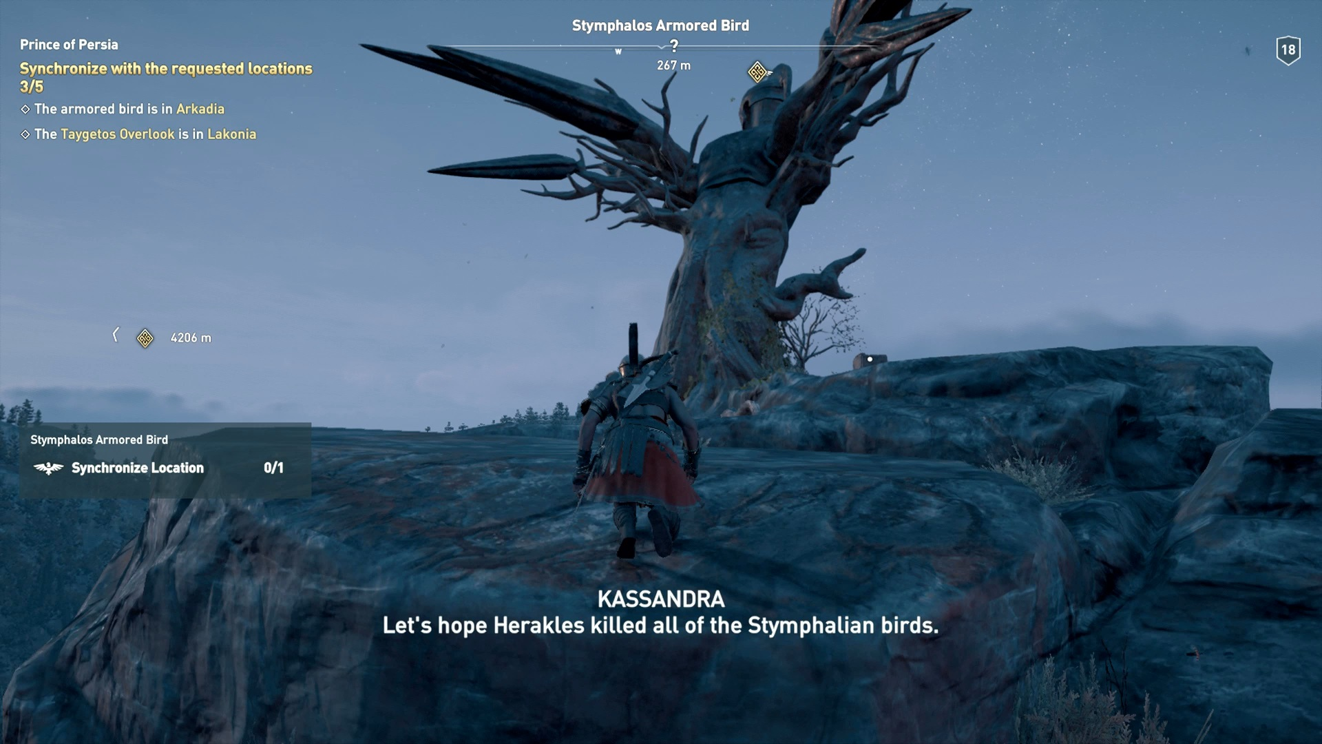 Kassandra looking at the Stymphalos Armored Bird