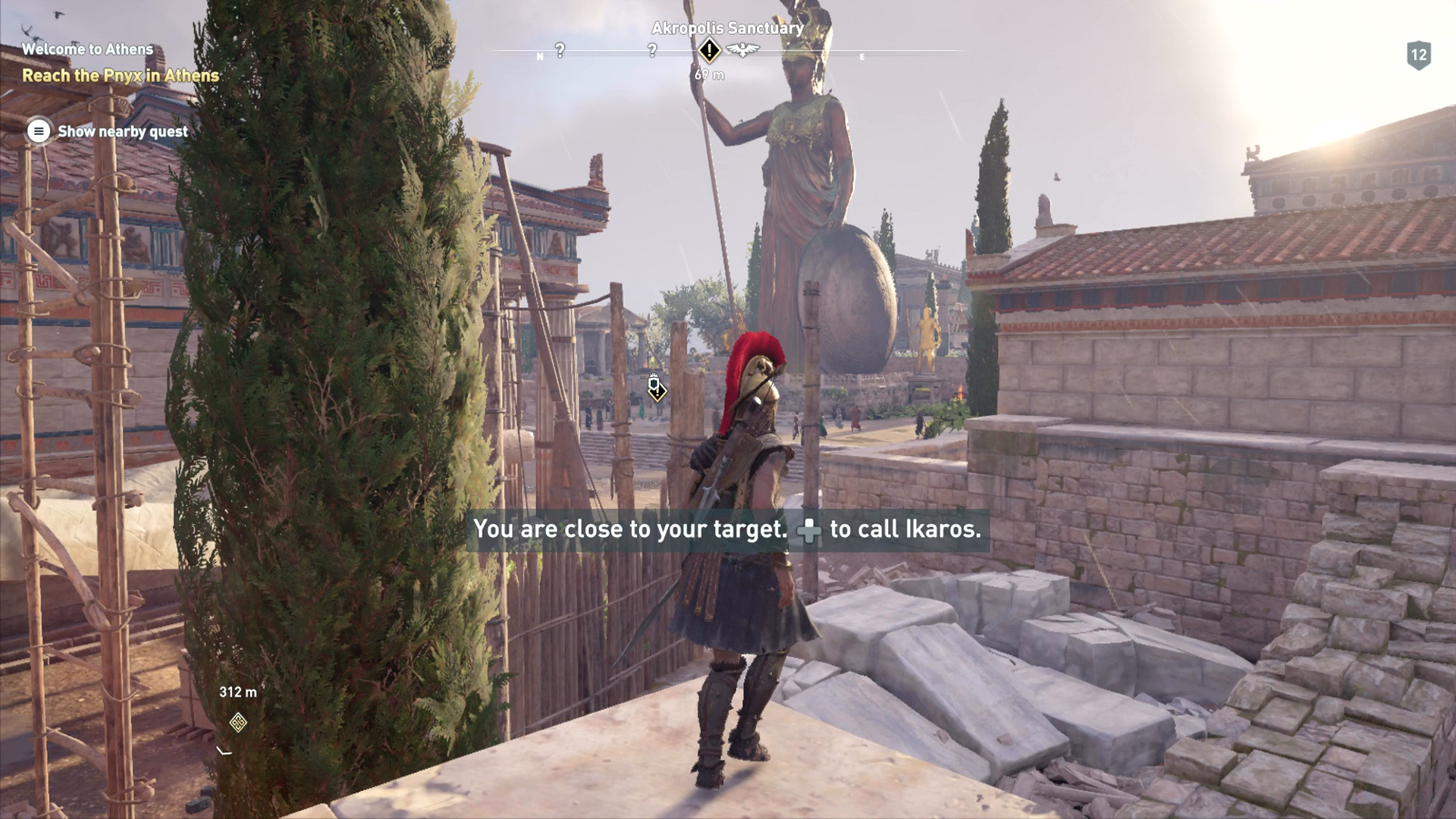 Kassandra on a rooftop in Attica, looking at the Statue of Athena.