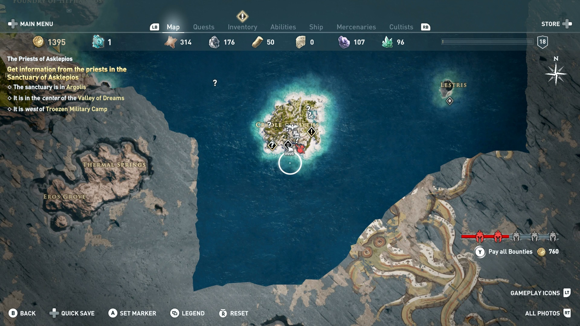 Map screen shows the location of the bounty giver, as well as the cost to pay the bounty.