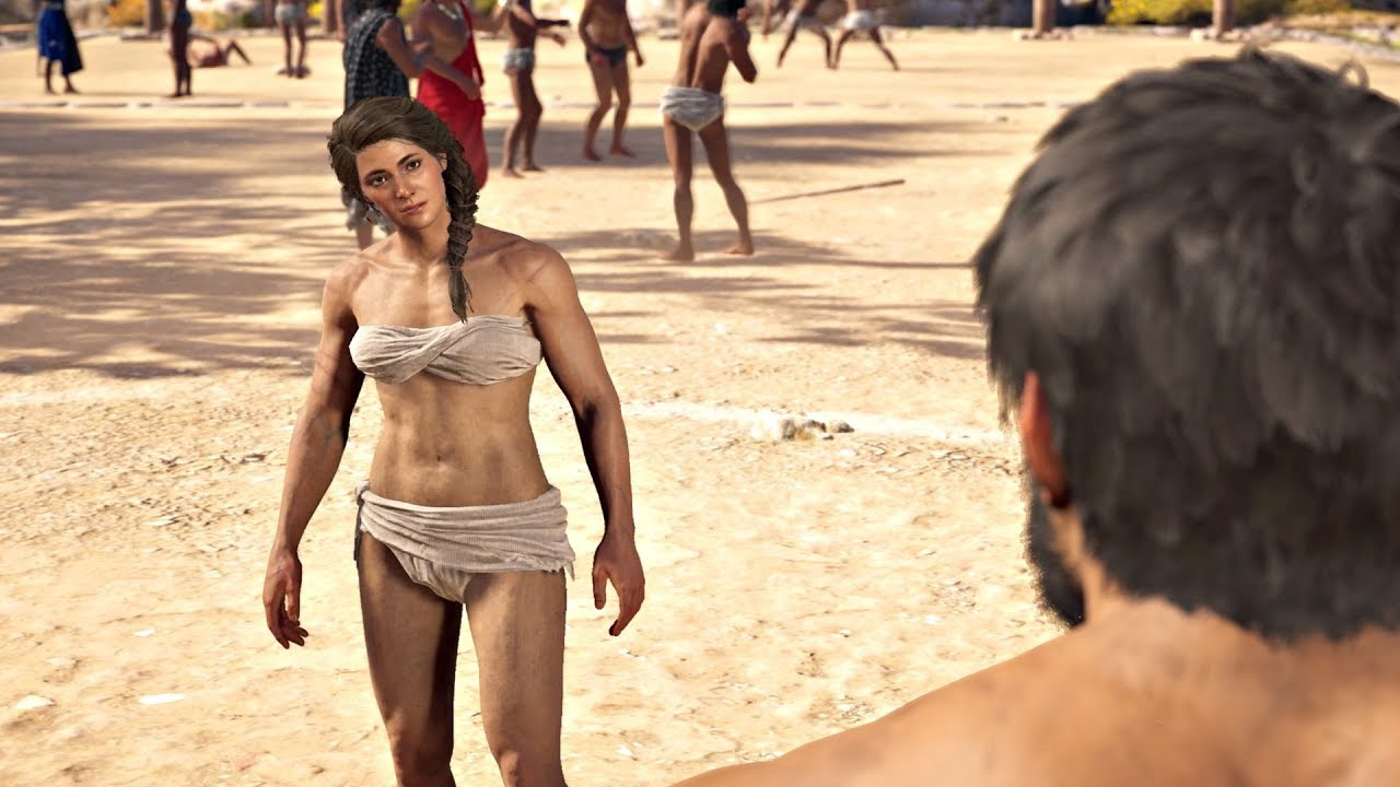 Kassandra squaring up against a fellow Pankrathon competitor.