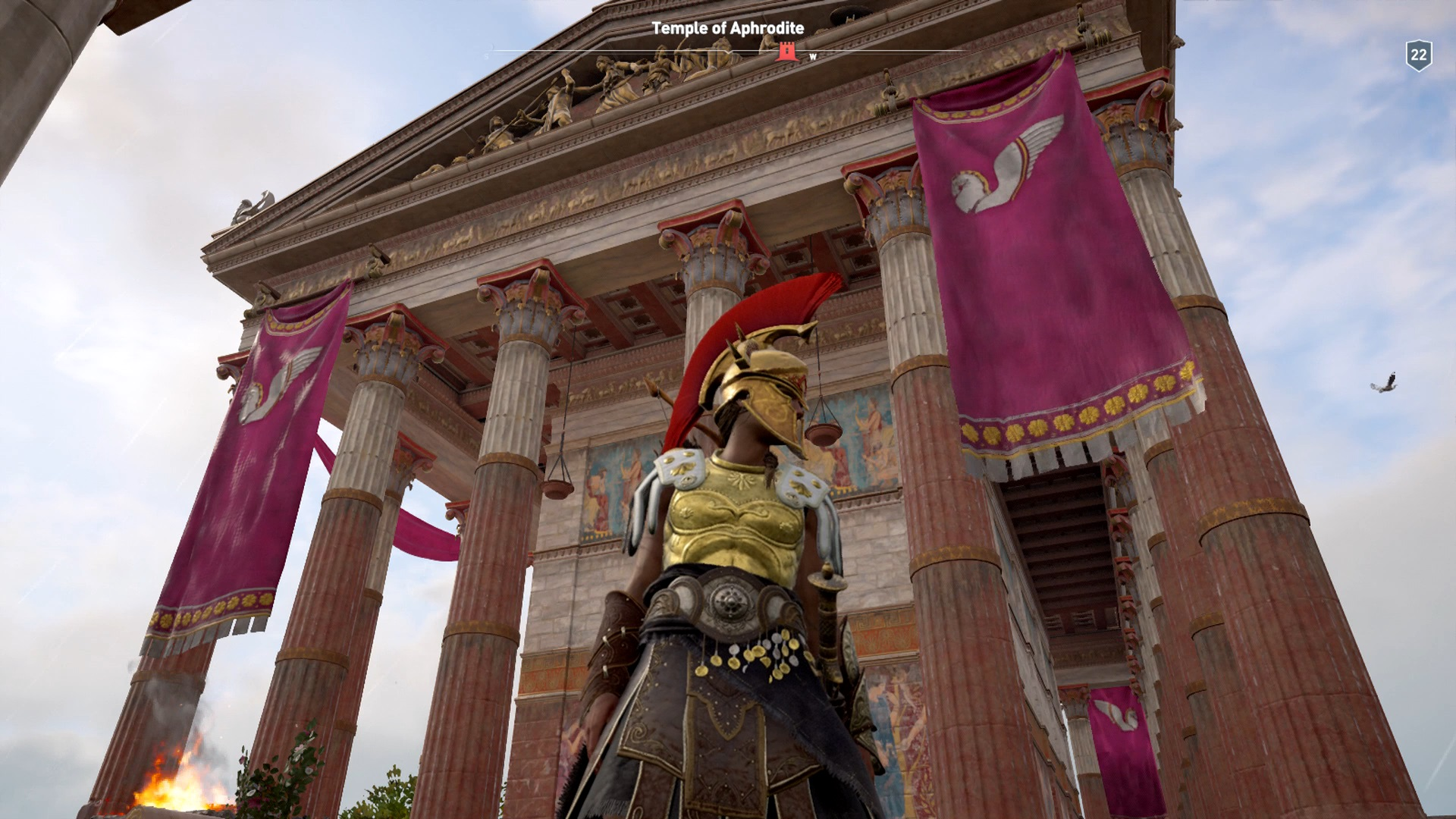 Kassandra outside the Temple of Aphrodite