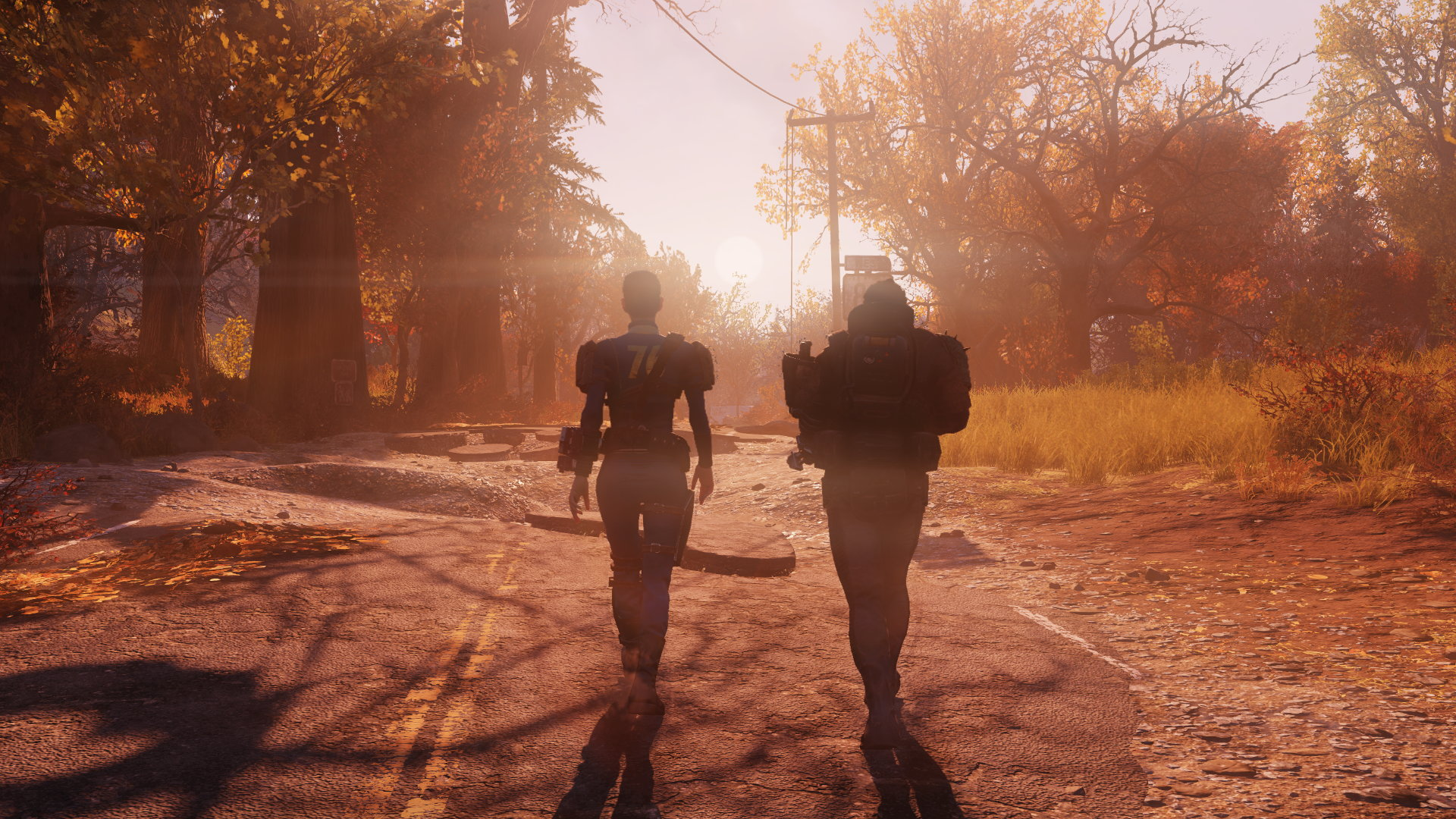 Two Vault 76 residents having a stroll into the sunset.