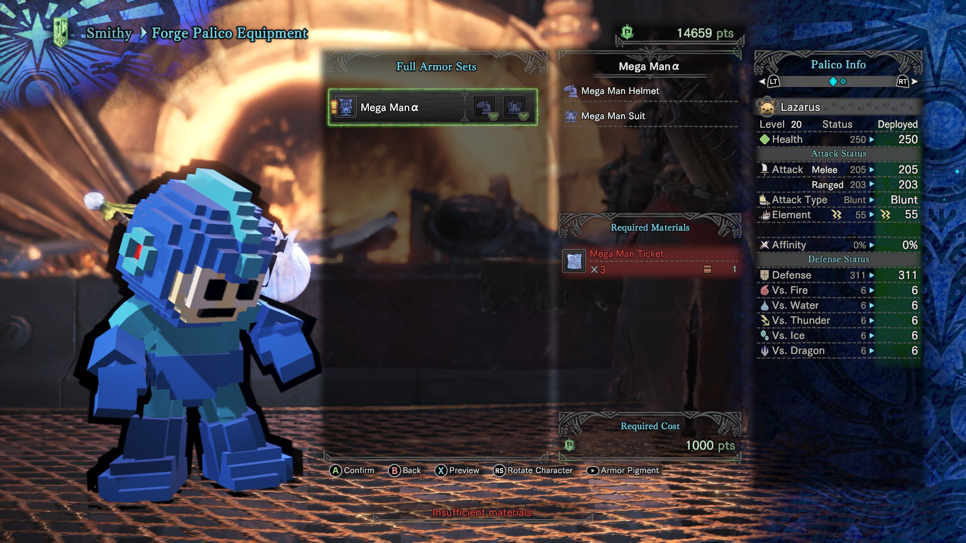 A Palico wearing the Mega Man full armour set.