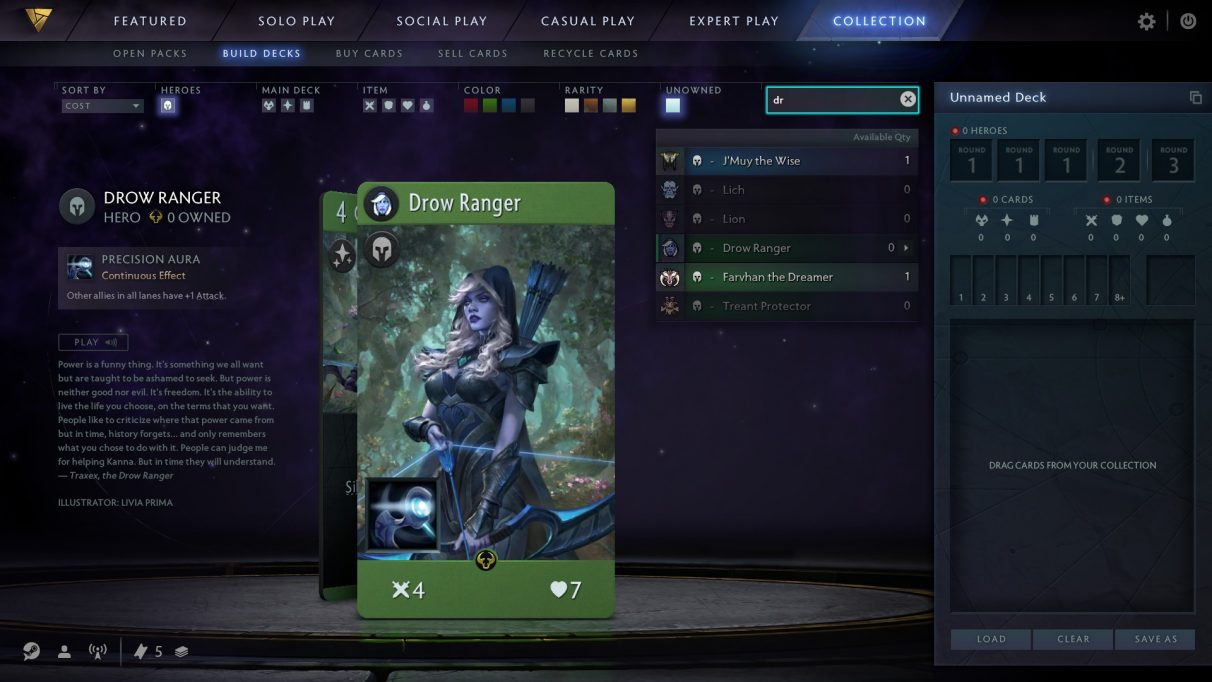 Drow Ranger in the hero selection for deck building.