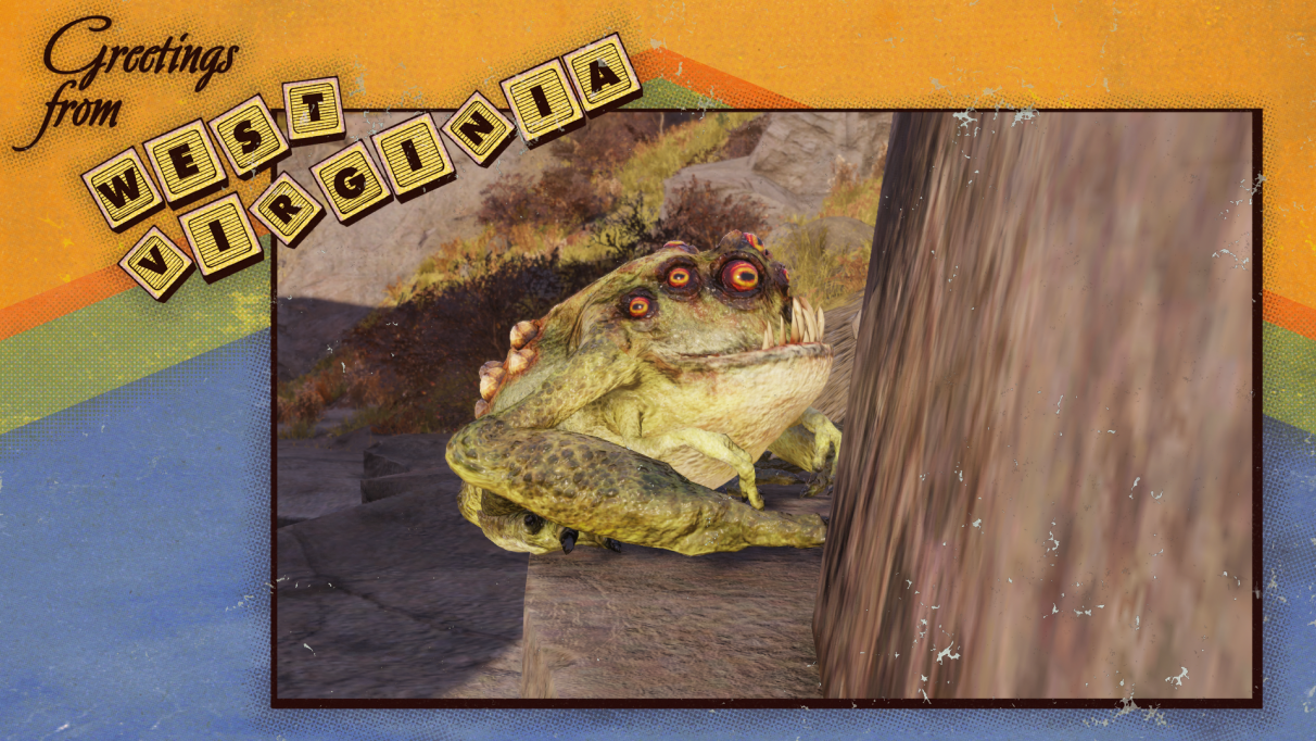 A postcard from West Virginia with a mutant frog on it.