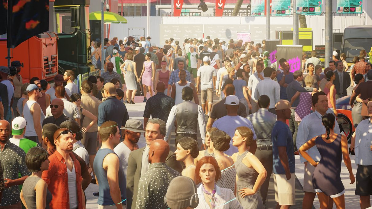 A huge crowd of people. It's unclear if Agent 47 is among them. He likes to hide...