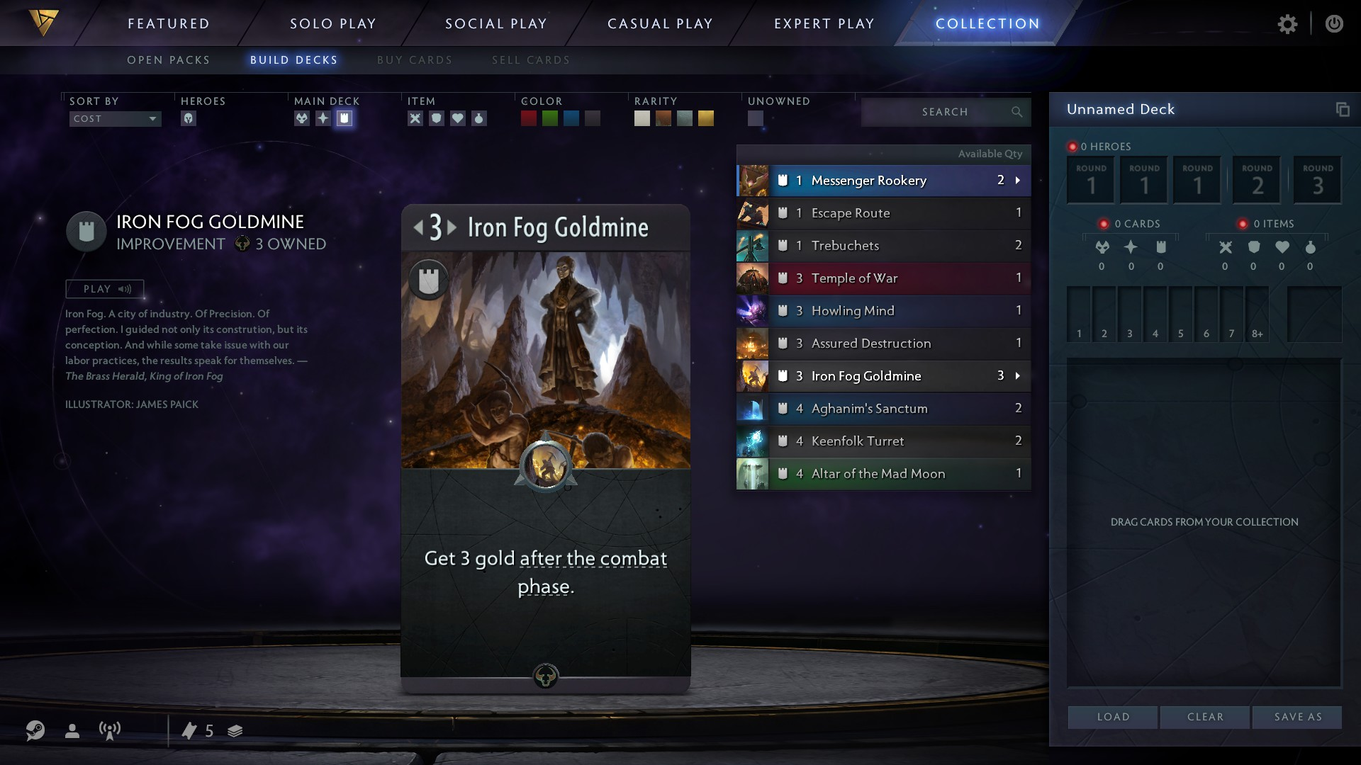 Black card called Iron Fog Goldmine is highlighted The number 3 on the top left has two arrows, indicating it can be played in any lane.