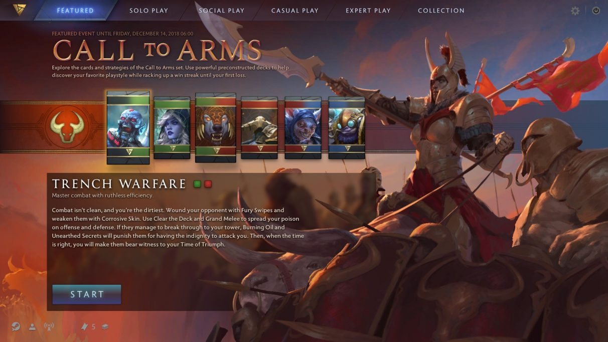 The Call to Arms preconstructed event in Artifact.