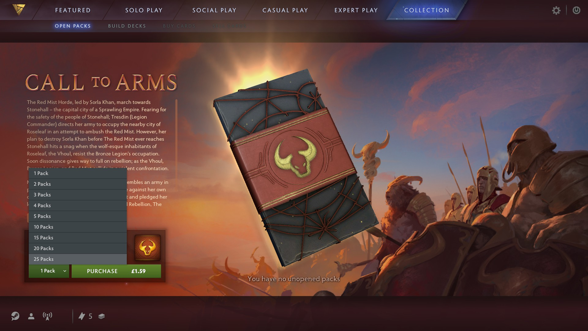 Artifact's booster pack shop. Price in picture is in GBP.
