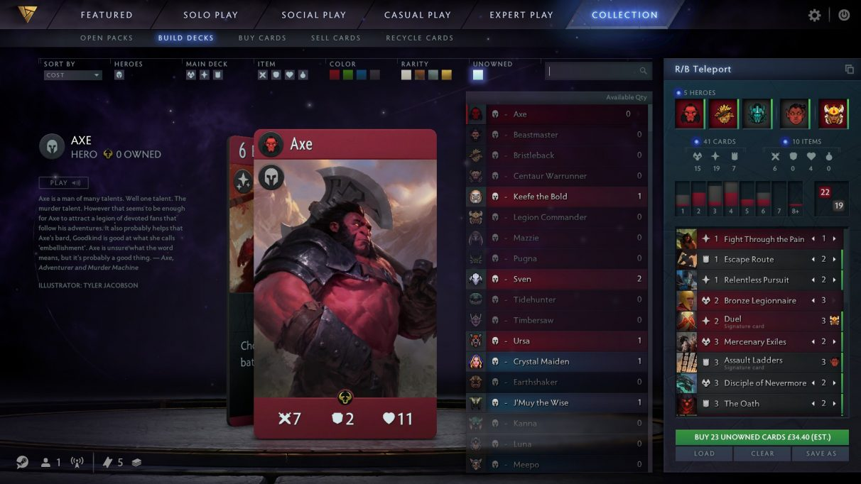 RB Teleport deck in Artifact