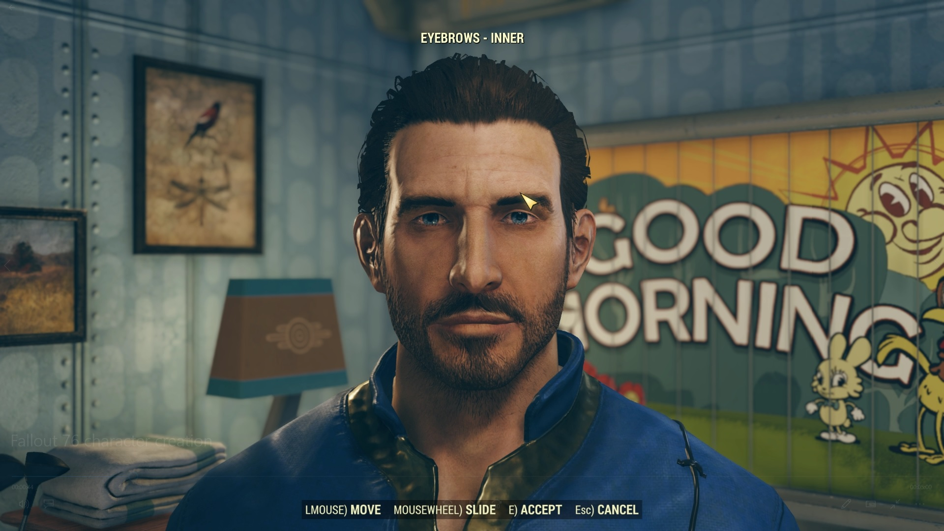 Player is tinkering with the character's inner eyebrows.