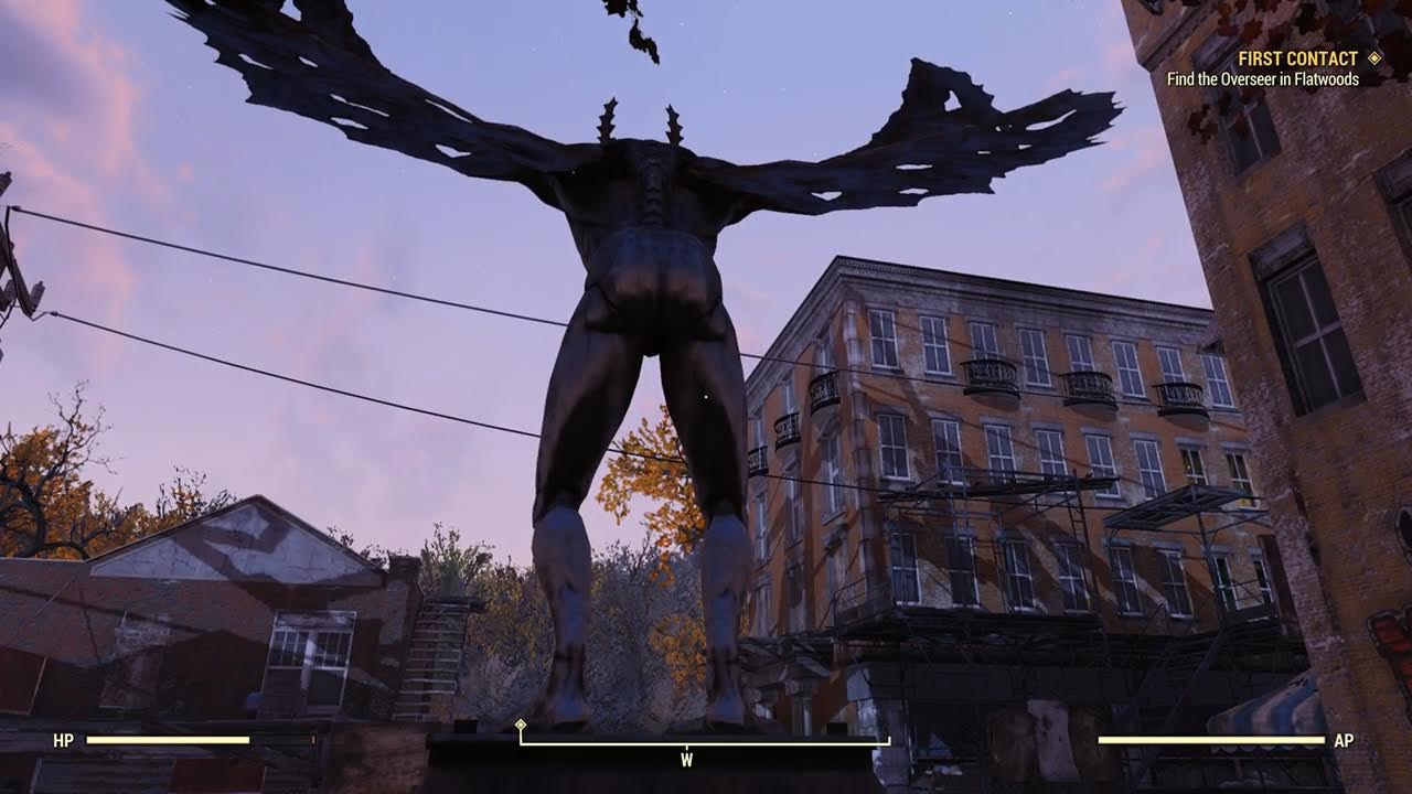 A statue of the Mothman.