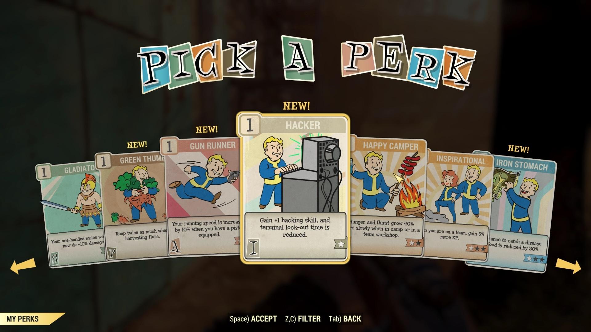 Choosing a perk card.