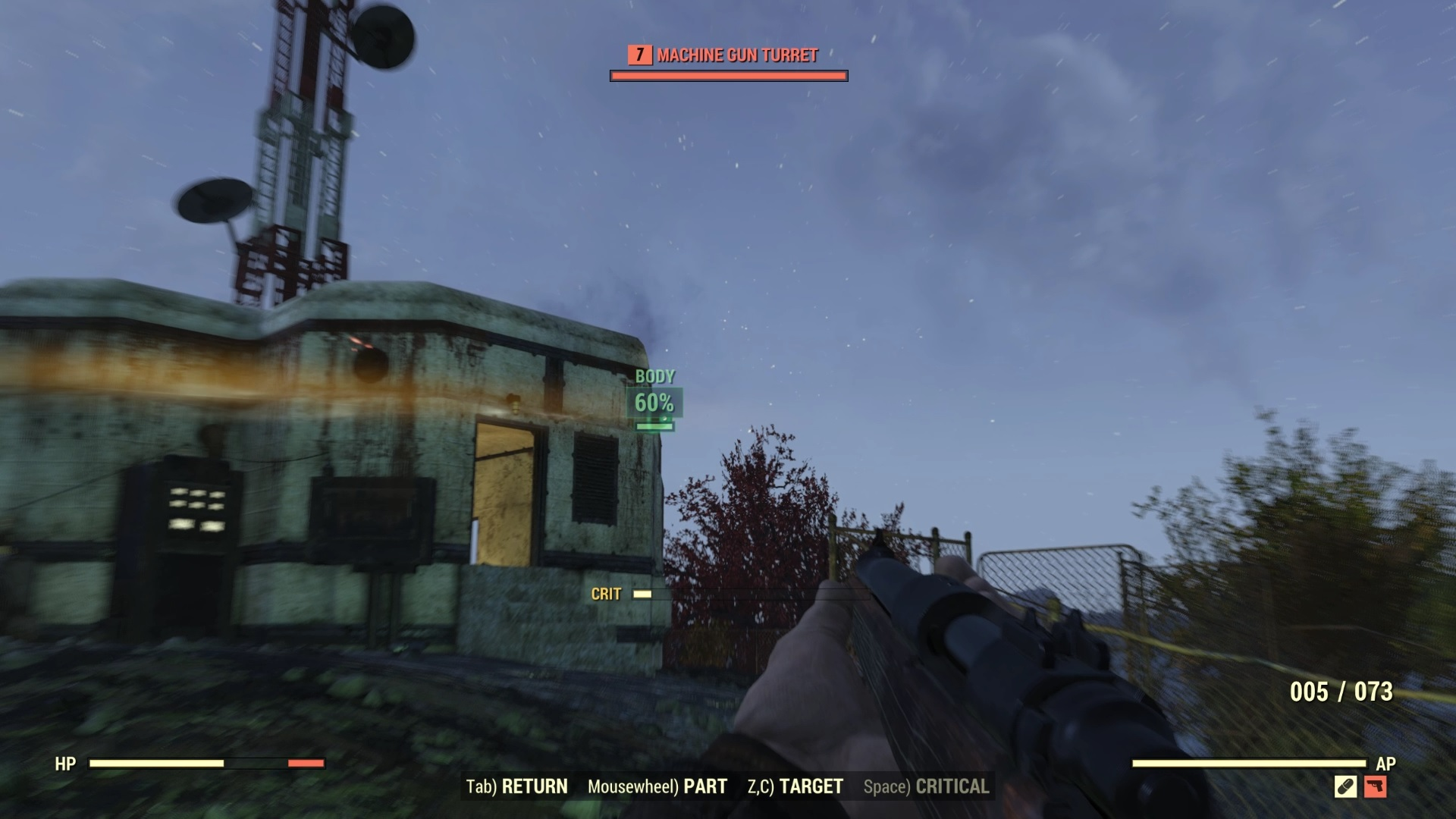 Using VATS against a turret.