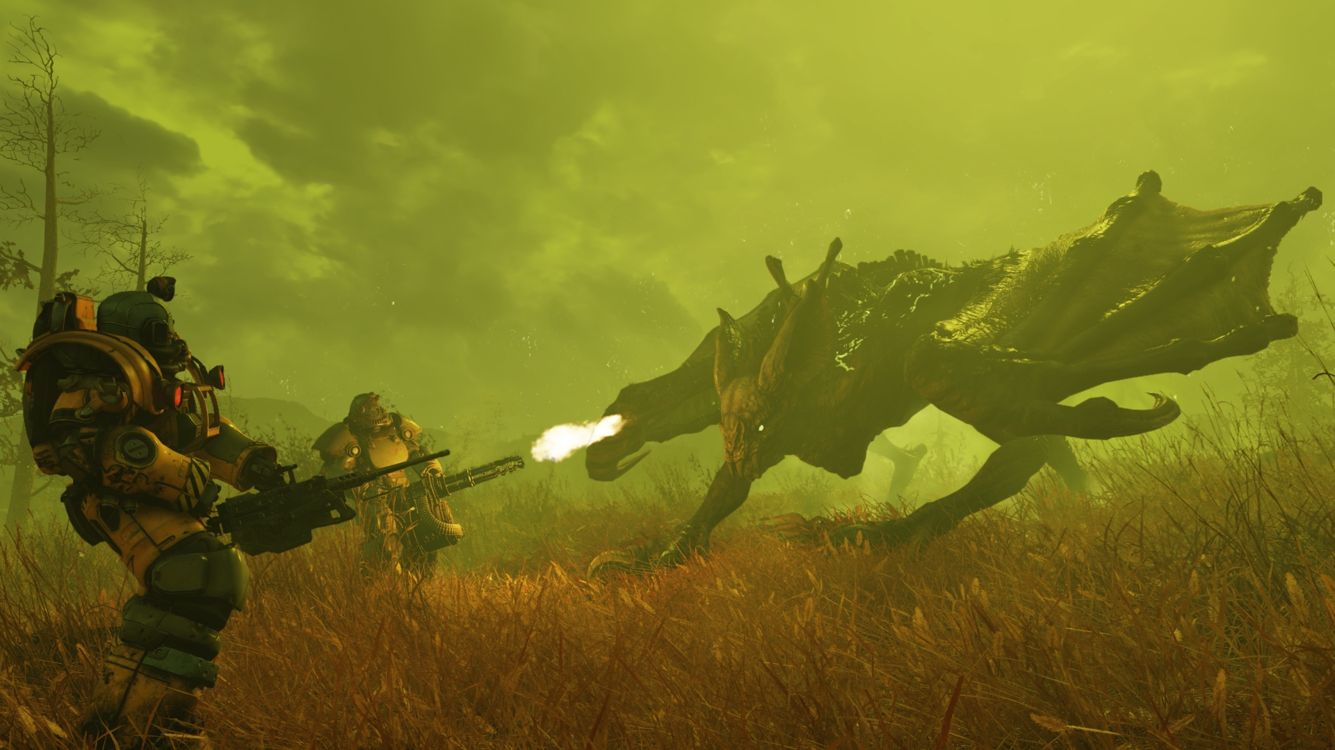 Two players in scrappy power armour face down what appears to be a massive radioactive dragon. The air is bright green and foggy