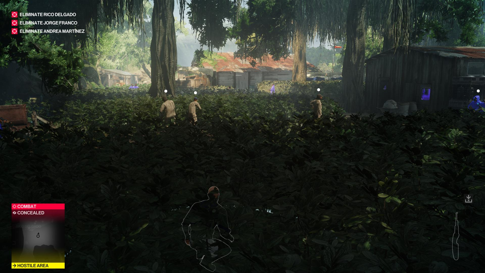 Agent 47 hiding in the foliage as three men search for him.