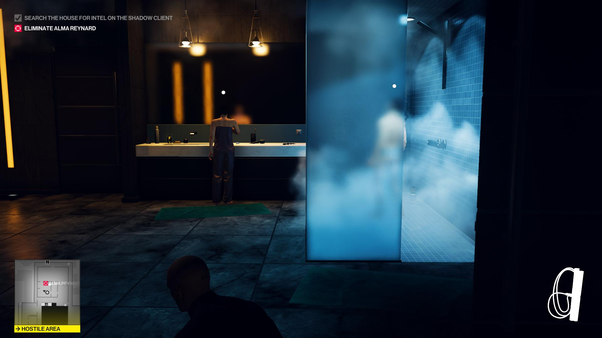 Agent 47 is standing in the shadows in the bathroom. A man is in the shower and a woman is brushing her teeth.