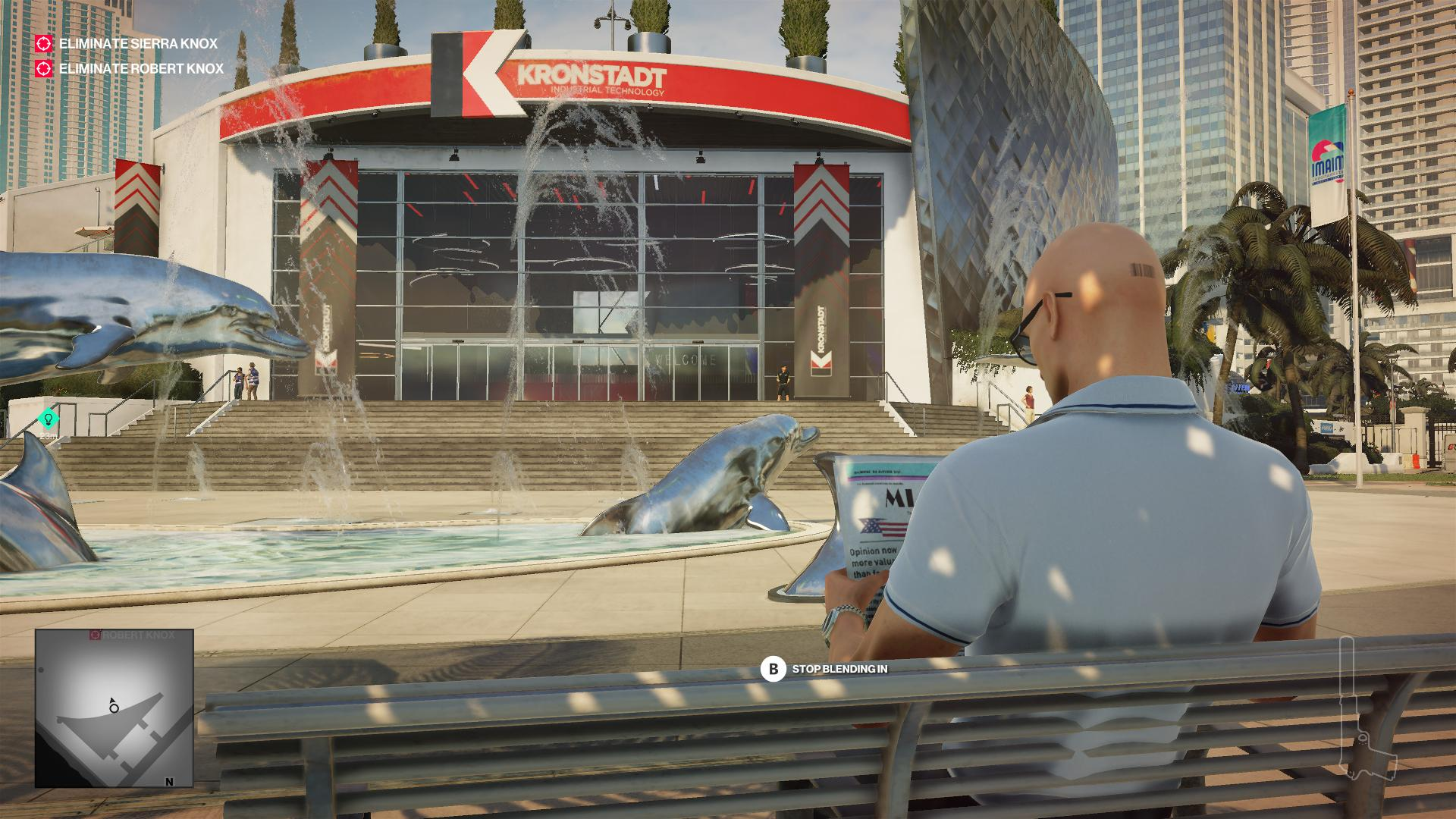Agent 47 in a polo shirt, sat on a bench and reading a newspaper.