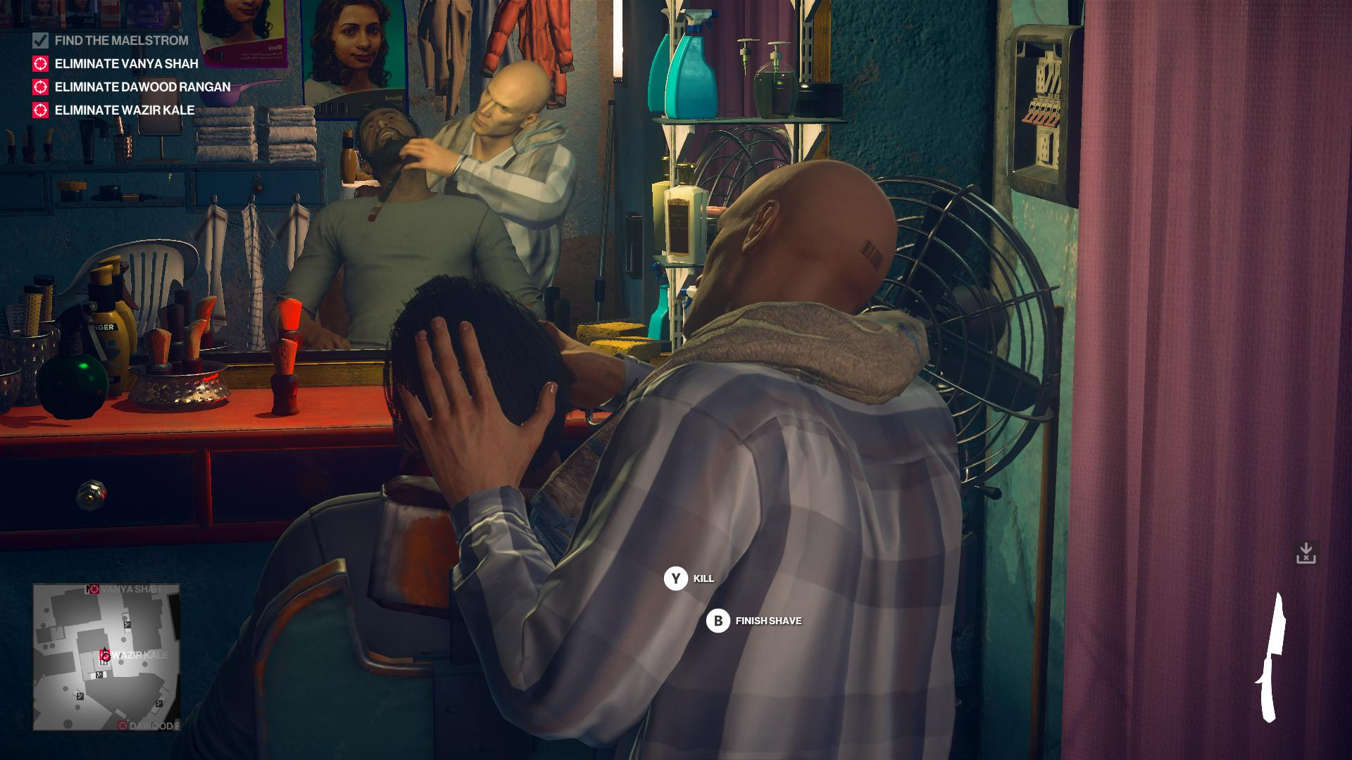 Agent 47 disguised as a barber, giving a man a very close shave. He has the option to make it too close.