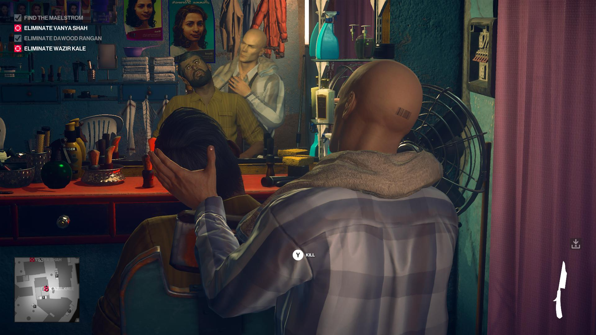 Agent 47 in a barber shop, about to give Wazir Kale a very close shave.