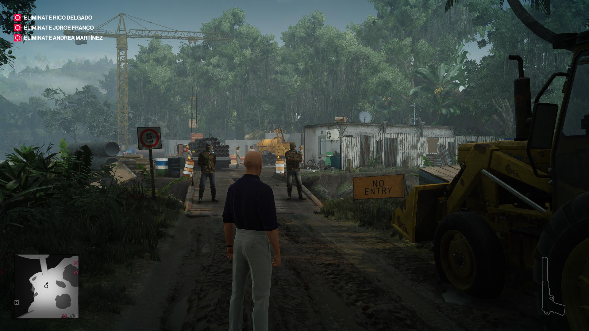 Agent 47 in casual wear, standing next to a bulldozer on the other side of a bridge. Two armed goons are standing guard.