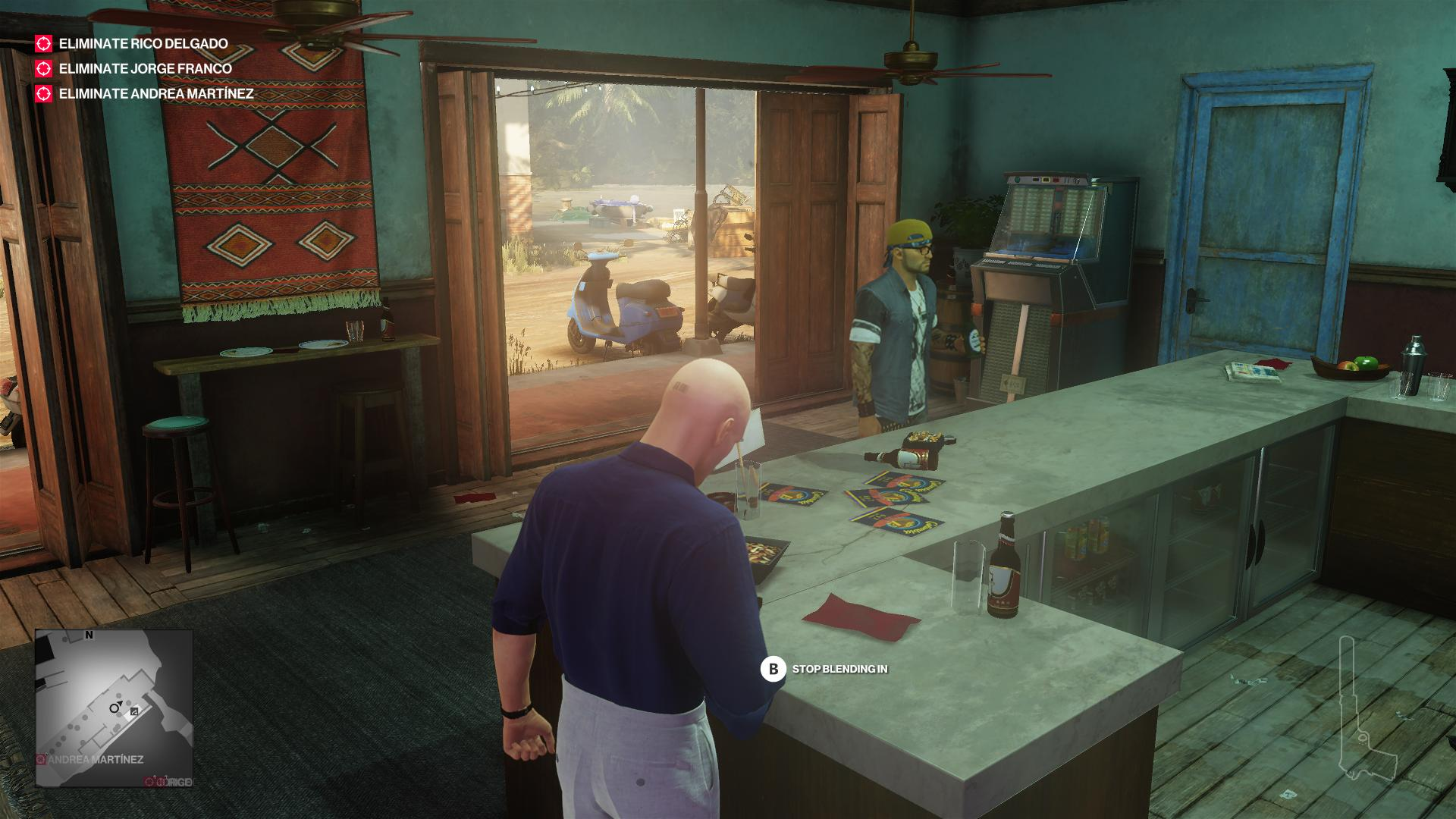 Agent 47 is standing at the bar, while a man in street threads is also at the bar.
